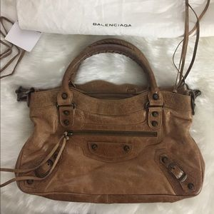 Authentic Balenciaga the first brown leather bag